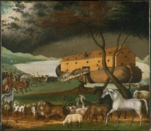 Zwierzęta wchodzące do arki, obraz Edwarda Hicksa.                             Źródło: wikipedia