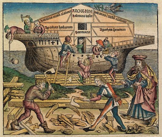 Budowa arki. Kronika norymberska 1493. Źródło: wikipedia