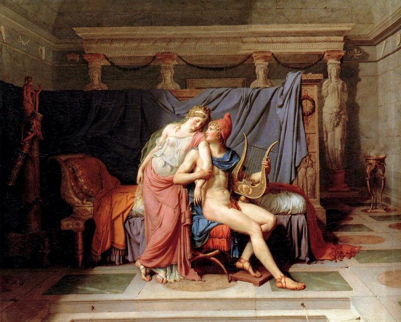 Miłość Parysa i Heleny. Płótno autorstwa Jacques-Louis David.
