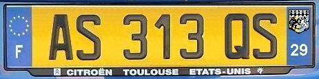Francuskie tablice rejestracyjne.